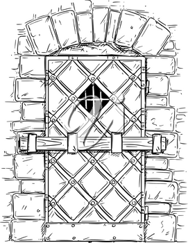 Cartoon vector doodle drawing illustration of medieval wooden door closed by latch.