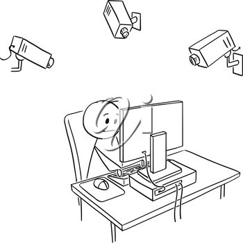 Cartoon stick man drawing conceptual illustration of businessman employee working on computer while is controlled or monitored using cameras by employer or manager. Business concept of control and pressure.