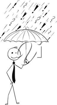 Cartoon stick man drawing conceptual illustration of business man holding umbrella protecting him from troubles and problems.Concept of protection.