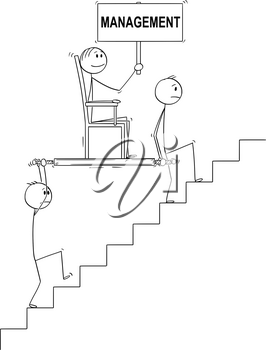 Cartoon stick drawing conceptual illustration of two men, businessmen or slaves carrying boss, manager or lord holding management sign upstairs in litter or sedan chair. Business concept of subordination, cooperation and teamwork.