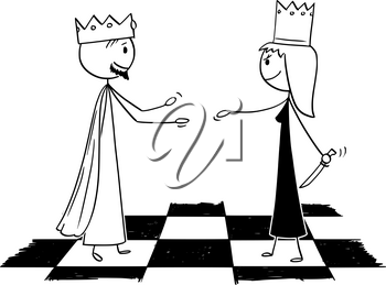 Cartoon stick figure drawing conceptual illustration of white chess king is warmly welcoming black queen hiding knife and pretending friendship.
