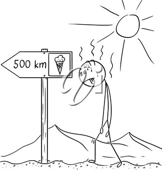 Cartoon stick drawing conceptual illustration of man walking thirsty without water through hot desert and found arrow sign with ice cream 500 km or kilometers symbol.