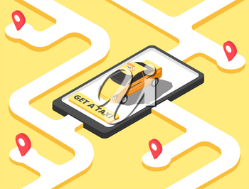 Taxi concept. Isometric yellow car cab riding for client on map. Taxi service app vector background. Taxi city, cab street, yellow automobile illustration