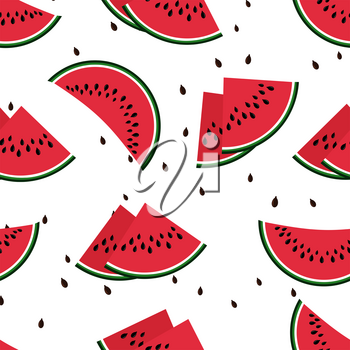 Red watermelon slices seamless vector pattern. Background with fruit sweet illustration