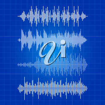 White music waves collection - musical pulse on blue backdrop. Equalizer white sound wave digital, frequency, pulse melody waveform, vector illustration
