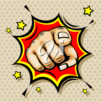 Hand with finger pointing vector illustration in pop art style. Pointing gesture symbol