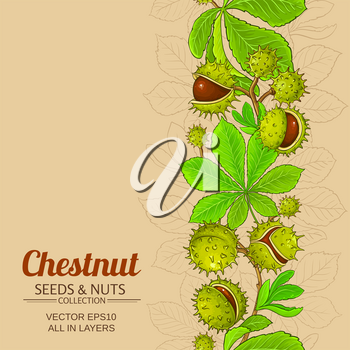 chestnut plant vector pattern on color background