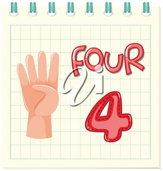 Count number four worksheet illustration