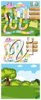 Game template with green grass background illustration
