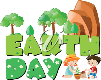 Earth day theme with kids planting trees illustration