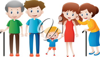 Many people in family illustration