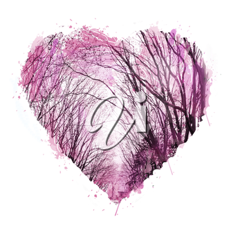 Abstract hand drawn. Watercolor heart.Love heart design. Photo collage with graphic silhouettes of trees