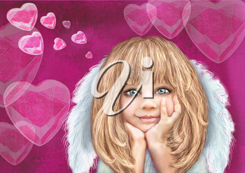 Cute little cupid. Happy smiling cupid girl with blond hair and white wings isolated on a pink background with hearts. Greeting card. St. Valentine day theme. Angel. Love. Holiday background.
