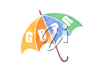 GDPR concept illustration. General Data Protection Regulation abbreviation - GDPR - on a umbrella as a symbol of privacy protection.