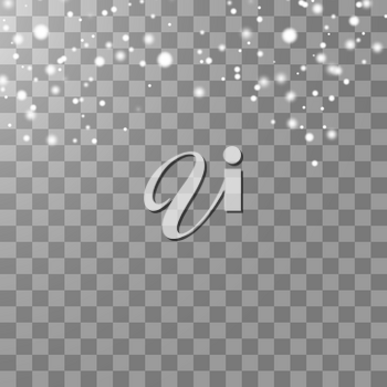 Vector falling snow effect isolated on transparent background with blurred bokeh. EPS 10.