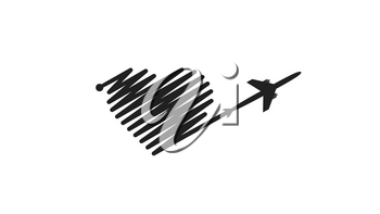 Plane and its track in the shape of a heart on white background. Vector illustration. Aircraft flight path and its route.