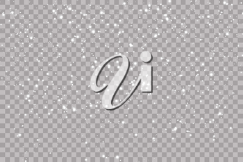Realistic falling snowflakes. Isolated on transparent background. Vector illustration.