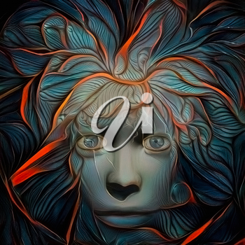 Abstract painting. Mystic woman's face with lightning