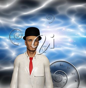 Man in white suit and time spirals