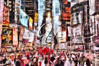 Abstract modern painting. Times Square.