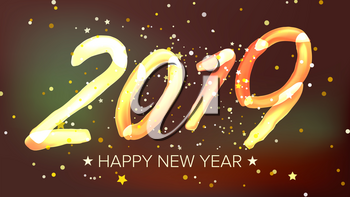 2019 Happy New Year Sign Vector. Glow Neon Light. Numbers 2019. Greeting Card, Brochure, Flyer Template Design. Illustration