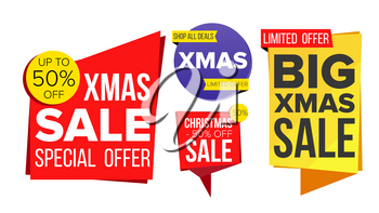 Christmas Sale Banner Set Vector. Winter December Online Shopping. Discount Banners. Xmas Sale Banner Tag. Holidays Price Tag Labels. Isolated Illustration