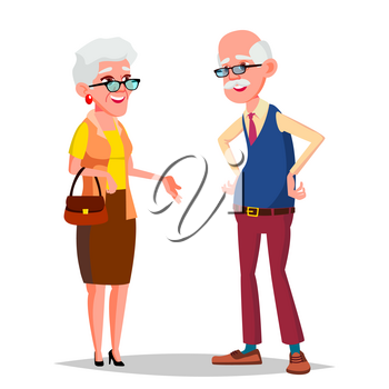 Elderly Couple Vector. Modern Grandparents. Old Age. With Glasses. Isolated Flat Cartoon Illustration