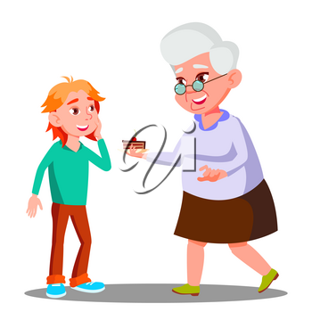 Old Woman Treating Little Child With Cookies Vector. Illustration