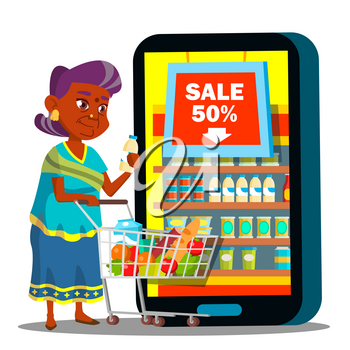 Online Shopping Vector. Old Woman Standing With Shopping Cart, Buying Food Online. Illustration