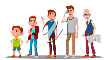 Caucasian Generation Male Vector. Grandfather, Father, Son, Grandson, Baby Vector Isolated Illustration - Vector illustration