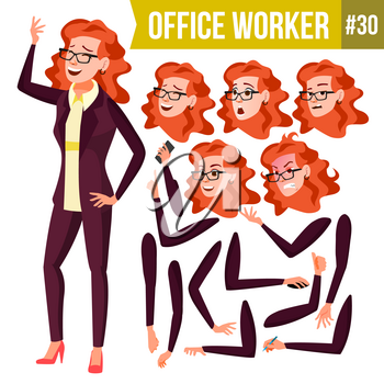 Office Worker Vector. Woman. Happy Clerk, Servant, Employee. Business Woman Person. Lady Face Emotions, Various Gestures. Animation Set. Flat Character Illustration