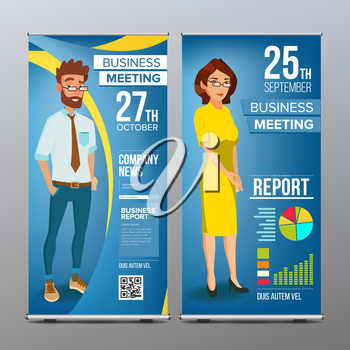 Roll Up Banner Vector. Vertical Billboard Template. Businessman And Business Woman. Tech, Science. For Corporate Forum. Presentation Concept. Blue, Yellow. Realistic Flat Illustration