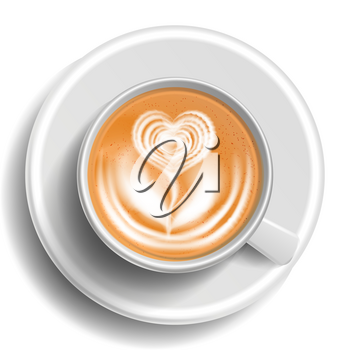 Coffee Art Vector. Cup Top View. Hot Cappuccino Coffee. White Mug. Realistic Illustration