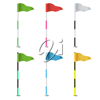 Golf Flags Vector. Realistic Flags Of The Golf Course. Isolated