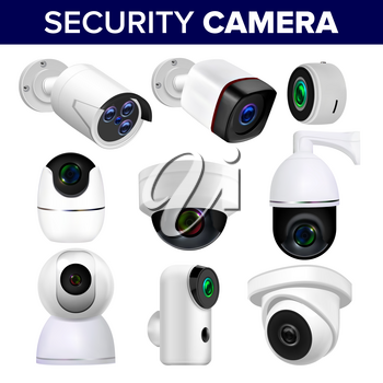 Video Surveillance Security Cameras Set Vector. Collection Of Different Control Recording And Inspection Electronic Cameras. Protection Property System Technology Realistic 3d Illustration