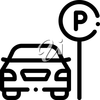 Car near Parking Sign Icon Vector. Outline Parking Sign. Isolated Contour Symbol Illustration