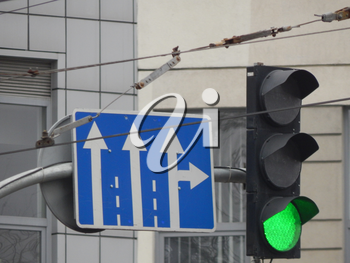 Road signs indicating the direction of movement of cars and pedestrians