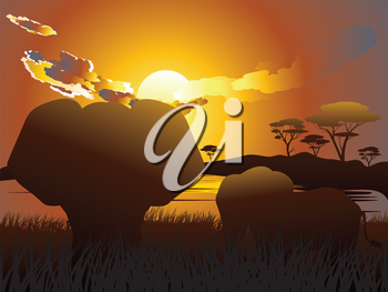 Colorful sunset scene, african landscape with silhouette of trees and elephant.