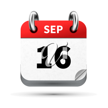 Bright realistic icon of calendar with 16 september date on white