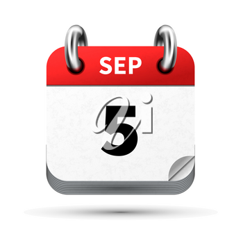Bright realistic icon of calendar with 5 september date on white