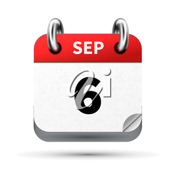 Bright realistic icon of calendar with 6 september date on white