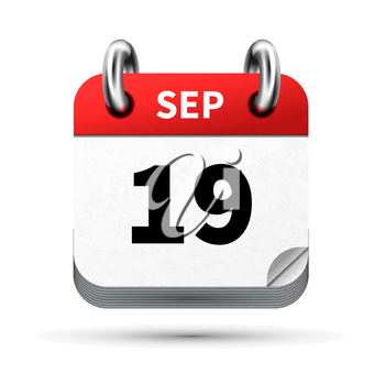 Bright realistic icon of calendar with 19 september date on white