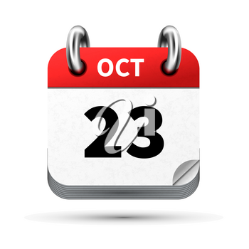 Bright realistic icon of calendar with 23 october date on white