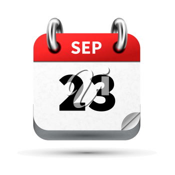 Bright realistic icon of calendar with 23 september date on white