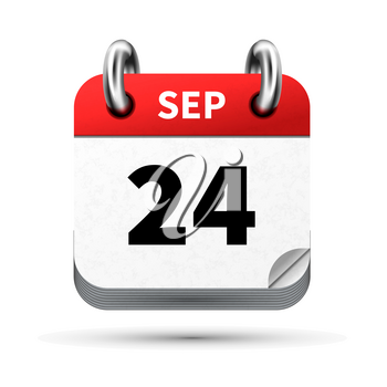 Bright realistic icon of calendar with 24 september date on white