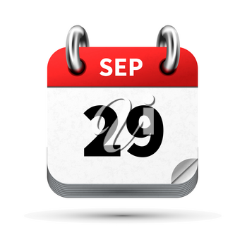 Bright realistic icon of calendar with 29 september date on white