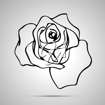 Cute outline rose, simple black icon with shadow