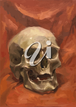 Old realistic human skull on red, oil painting