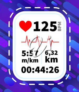 Heart rate monitor display with running dynamic information like pace, time and distance on purple