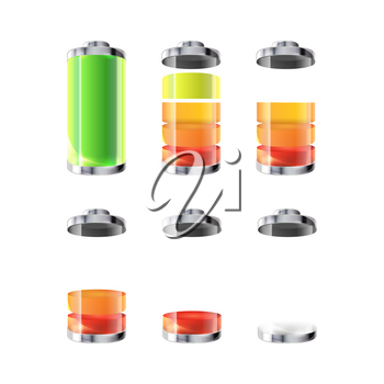 Battery icons with different charge level